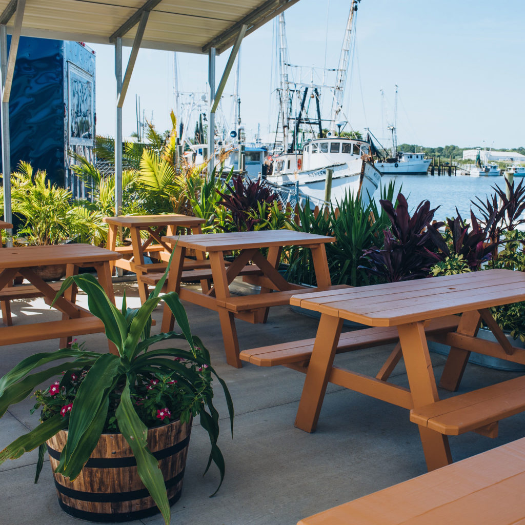 View from the picnic tables at Crave Food Truck in Downtown St. Augustine