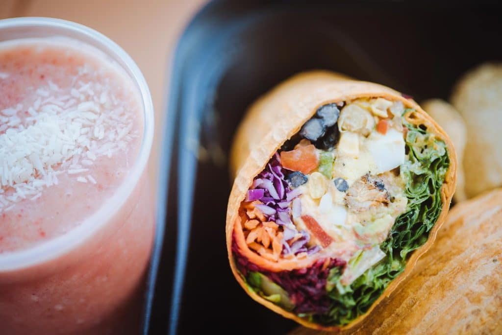 You'll find colorful wraps and smoothies at Crave Food Truck.